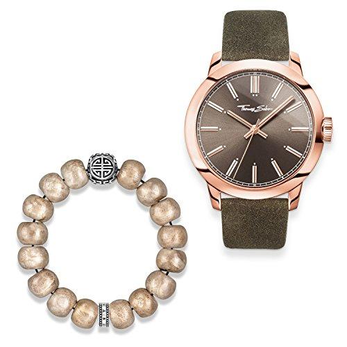 Thomas Sabo - Reloj para hombre Rebel at Heart con pulsera de plata de ley 925, chapado en oro rosa de 18 quilates, acero inoxidable, correa de piel marrón aspecto vintage SET0522-631-2
