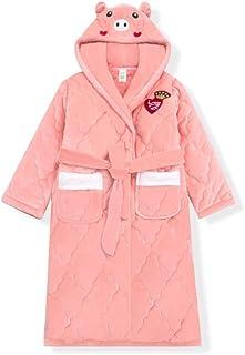 WZHZJ Kids Girl Robe Bathrobe Hooded for Girl Pyjamas Nightgown Double-Sided Soft Flannel Pyjamas Children Warm Clothes (S...