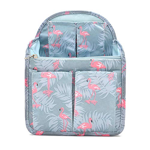 HOYOFO Backpack Organizer Insert Travel Rucksack Purse Insert in Bags Divider Foldable Nylon Shoulder Bag Organizer, Flamingo