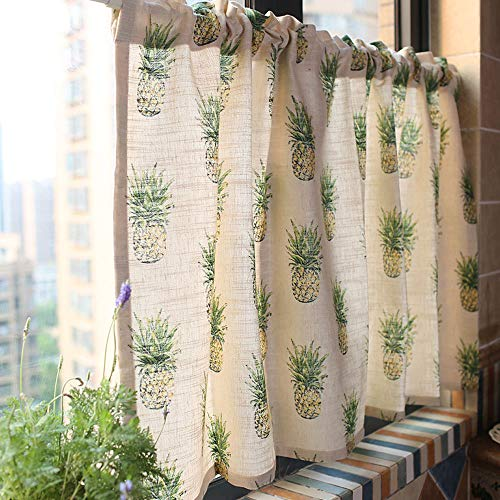 LIUU Cafe Curtains Kitchen Tier Curtains Kitchen Curtains Valances Slub Hemp Blended Pineapple Print Pattern Short Blackout Curtains American Mediterranean Style