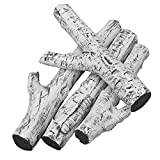 Stanbroil 4 Piece Set of Ceramic White Birch Wood Gas Log for All Types of Ventless, Gel, Ethanol, Electric,Gas Inserts, Propane, Indoor or Outdoor Fireplaces & Fire Pits