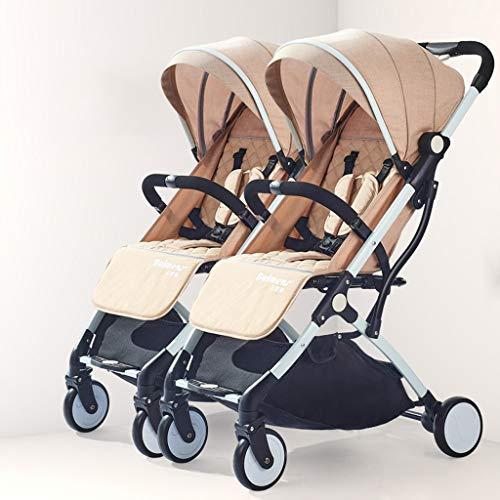 Fenfen Spaziergänger, leichte Spaziergänger-Zugriegel-Entwurfs-Doppel-Spaziergänger, Abnehmbarer Kinderwagen-Faltbarer Doppelkinderwagen, Carport-regendichte, eine Fuß-doppelte Bremse 98 * 66 * 48cm
