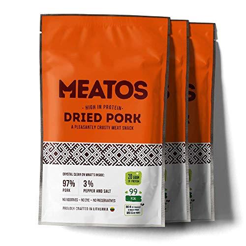 MEATOS Trockenfleisch-Snack vom Schwein | Packung 3 x 30 g | Hoher Proteingehalt | Kein Zucker | Gesunder Snack | Natürliche Zutaten | Keine Zusatzstoffe | Fitness Food | Low Carb