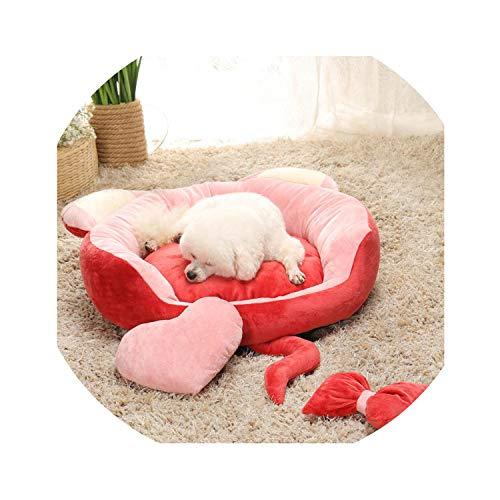ZZmeet schattig oor huisdier kat kleine hond kennel kat nest bed bank slaapmat zacht fleece huisdier manden winter warm nest puppy Chihuahua bed, 78cm, Chocolade