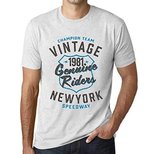 One in the City Hombre Camiseta Vintage T-Shirt Gráfico Genuine Riders 1981 Cumpleaños de 40 años Blanco Moteado