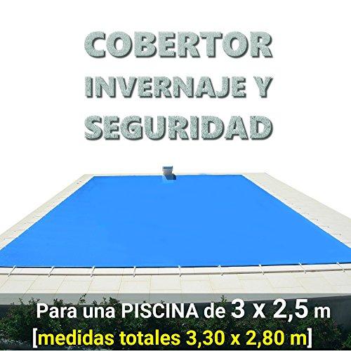 Cobertor, lona, cubierta, toldo,... de invierno para cubrir una piscina de 3,0 x 2,5 m. Medidas totales del cobertor: 3,30 x 2,80 m.