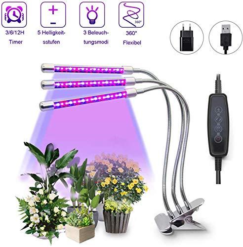 Jelly kam plantenlamp LED 27W 3-hoofd 54 LEDs plantenlamp, 3 verlichtingsmodi 5 helderheidsniveaus plantenlicht met timer- en geheugenfunctie groeilamp Grow Light