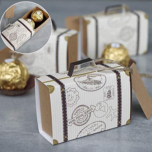 10/50 / 100PCS DIY mini maleta de la caja del caramelo del regalo de boda de cartón Embalaje Caja De Dulces bolsa de fiesta del acontecimiento Suministros de la boda con la tarjeta bolsas de caramelos