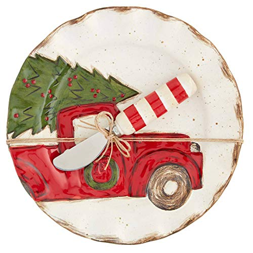 Mud Pie Christmas Farm House Cheese Plate, 2 Piece Set(Truck), White, plate 8 1/2' dia | spreader 5 1/2' (41100040T)