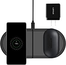 LDFAS Wireless Charger Dou Pad, 2 in 1 Dual Qi Fast Wireless Charging Station/Dock Compatible for Samsung Galaxy Watch 42mm/46mm/Active, Galaxy Buds, Gear S3/Sport, S10/S10+/S9/S8/Note 10/Note 9