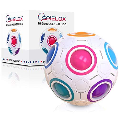 SPIELOX® Regenbogenball - Verbessertes Konzept 2020 - Knobelspiel Stress Ball Geschicklichkeitsspiel Spielzeug für Kinder Erwachsene Geschenk Mädchen Jungen Denkspiele Geschenkideen Kindergeburtstag