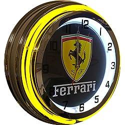 Ferrari Yellow 19 Double Neon Clock