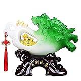 Estatuas de Buda Baicai Ruyi Jade Col Decoración Lucky Auspicioso Natural de Resina Artesanal Feng Shui Adornos for Espacios de Oficina Sala de TV Inicio Abertura del Armario Regalo Estatua de Buda
