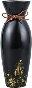 "SQOWL Black Ceramic Vase Elegant Rope with Golden Detailing Design Flower Vase for Home Décor Tall 9"""