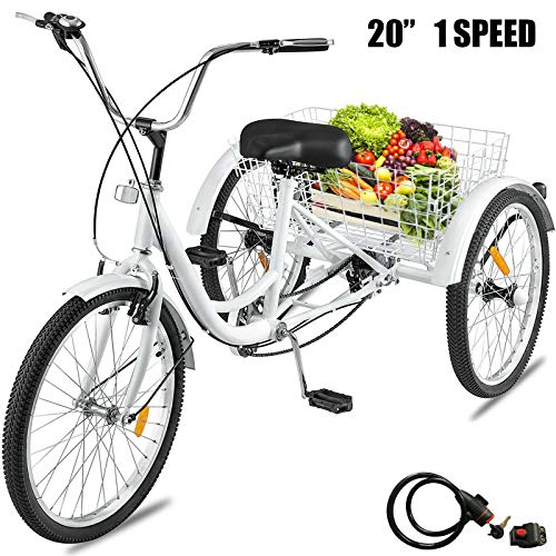 Best Price White 20 Inch Wheel 1 Speed Bicycle Tricycle with Lock Pedicab Trishaw Trike Wheel Carry ...