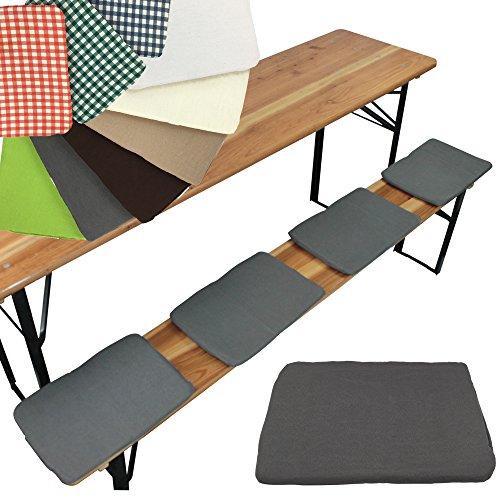 PROHEIM Bierbank-Sitzkissen 4er Set Sitzauflage 25 x 36 cm Bierbankkissen mit Befestigungsband Sitzunterlage für 25cm breite Bierbänke, Farbe:Grau