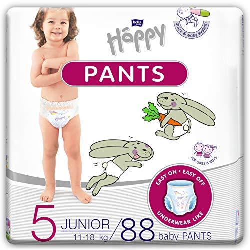 Bella Baby Happy Pants misura 5 Junior, ideale per l'allenamento del vasino, misura 5, 11-18 kg, 4 x 22 pezzi