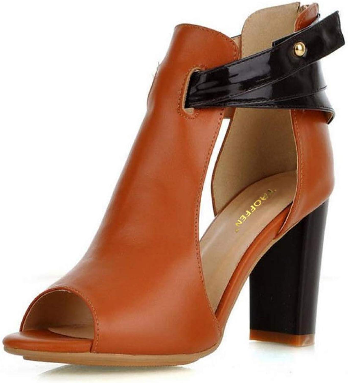 Btrada Women Natural High Heel Sandals Ladies Fish Mouth Peep Toe Fashion Dress shoes Zipper Slip on shoes