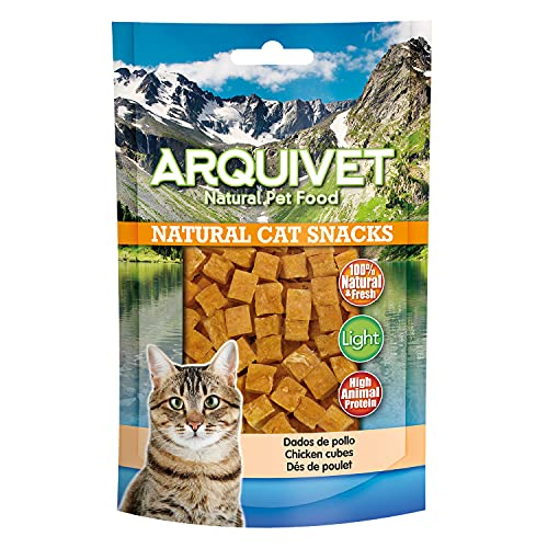 ARQUIVET Dados de Pollo Pack 24 Unidades x 50 gr - Natural Cat Snacks, Snacks para Gatos 100% Naturales - Chuches, premios, golosinas y recompensas para felinos