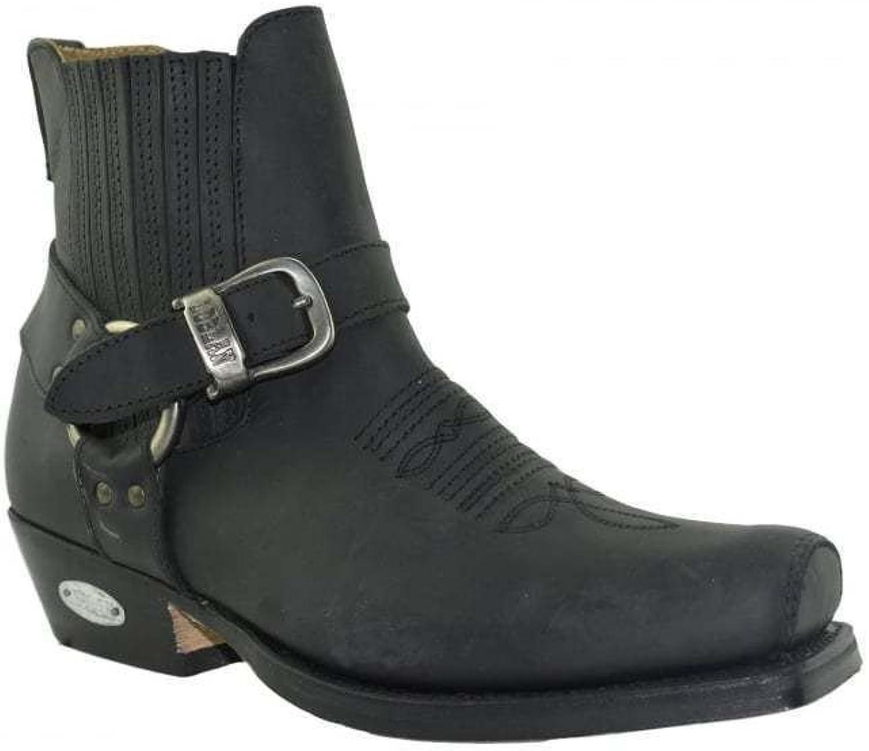 Loblan 515 Stivaletti Cowboy Caviglia   Pelle Western Moto Fibbia Punta Quadra Nero
