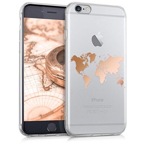 kwmobile Case kompatibel mit Apple iPhone 6 / 6S - Hülle Handy - Handyhülle Travel Umriss Rosegold Transparent
