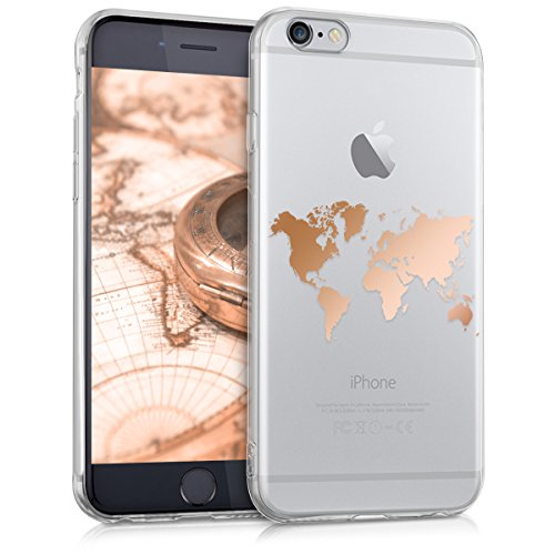 kwmobile Hülle kompatibel mit Apple iPhone 6 / 6S - Handyhülle - Handy Case Travel Umriss Rosegold Transparent