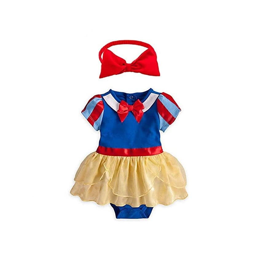 Baby Girl Snow White Princess Outfit Gown Set Toddler Birthday Party Costume Halloween Fancy Romper Dress up w/Headband