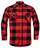 Snap Buttons Flannel Shirts for Men Regular Fit Mens Long Sleeve Shirt,Red Black MFL008,Large