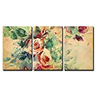 "wall26 - 3 Piece Canvas Wall Art - Watercolor Roses Painted on Beige Tone Paper - Modern Home Art Stretched and Framed Ready to Hang - 16""x24""x3 Panels"
