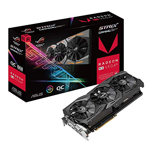 ASUS ROG-STRIX-RXVEGA56-O8G-GAMING 8GB OC Edition VR Ready 5K HD Gaming DP HDMI DVI AMD Gaming...