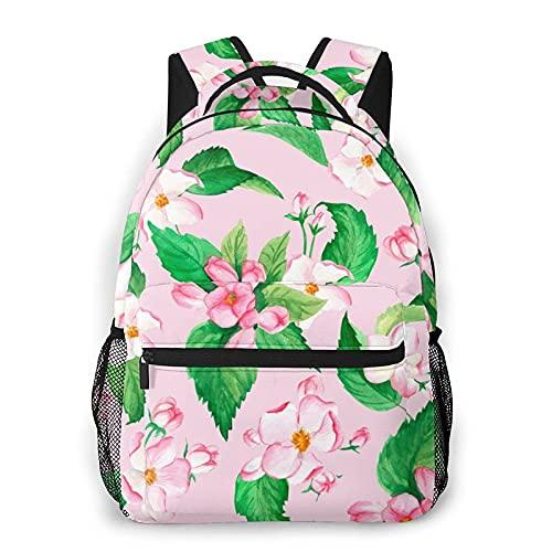Bokueay Mochila informal de flores rosadas Mochila de ocio de moda Mochila para adolescentes Mochila de viaje con estampado