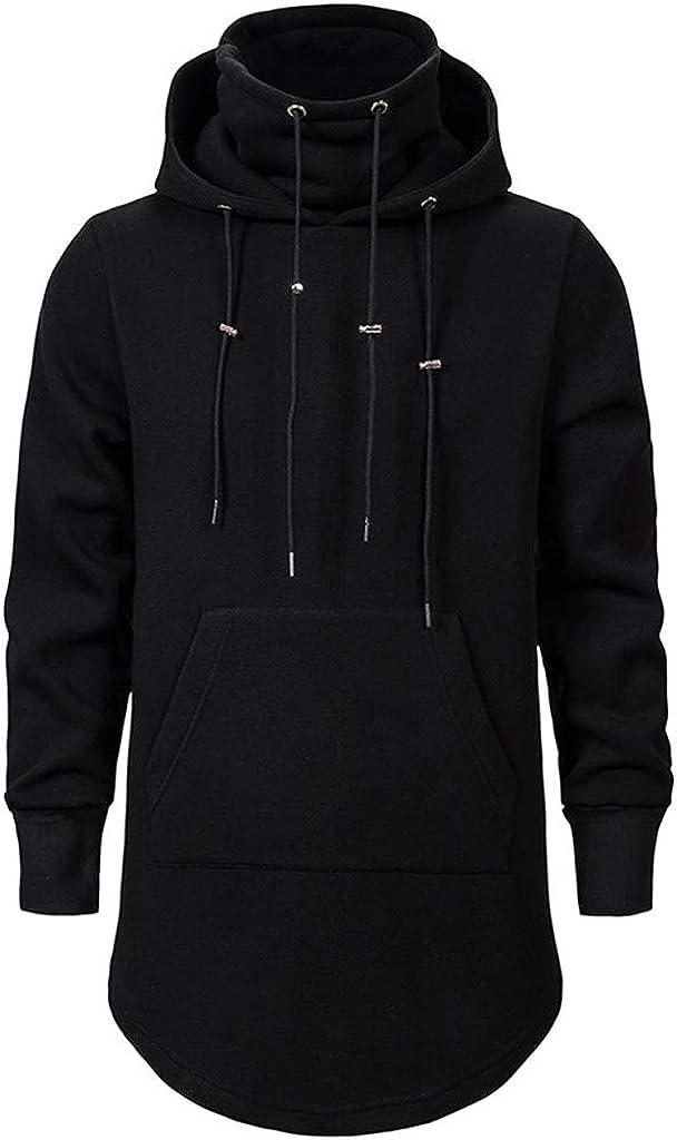 VEZAD Store Mens Cape Coat Bat Sleeves Cloak Pocket Irregular Solid Casual Pullover Hoodies