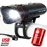 Cycle Torch Shark 300 USB Rechargeable Bike Light Set- Bicycle Headlight- Free LED USB Tail Light, Fits All Bikes