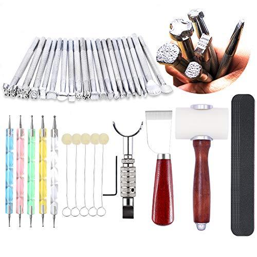Leder Stamping Tools - Leder Schnitzwerkzeug Kit, Sattelherstellung Werkzeuge Set, Drehmesser, Leder Arbeitshammer, Schneidemesser, Wollstaubierer, Mattierstreifen für Leder Stamping, Carving