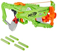 5-dart rotating drum Real crossbow action Fires 1 dart at a time Includes blaster, bow arms, 5 darts, and instructions