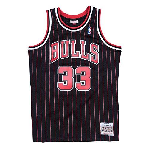 Mitchell & Ness Black NBA Chicago Bulls Scottie Pippen 1995 Alternate Swingman Jersey (Black, S)