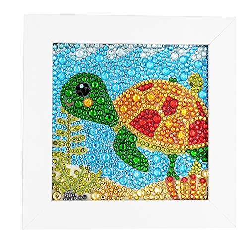 ParNarZar Kleine Und Einfache 5D Diamond Painting Set Kinder Mosaikherstellung Mit WeißEm Rahmen FüR Kinder - Kleine SchildkröTe 15X15Cm