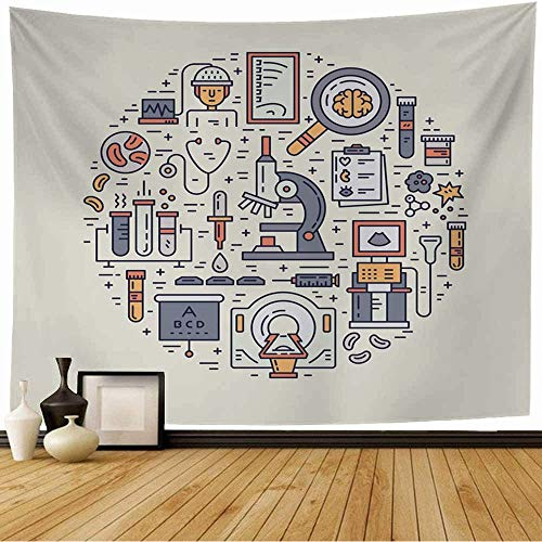 Staroind Tapestry Up Brain Unique Medical Health MRI Scan Microscope Line Healthcare Lab Service Blood Cancer Check Wall Tapestry Bedspread Picnic Sheet Wall Decor 80x60 Inch