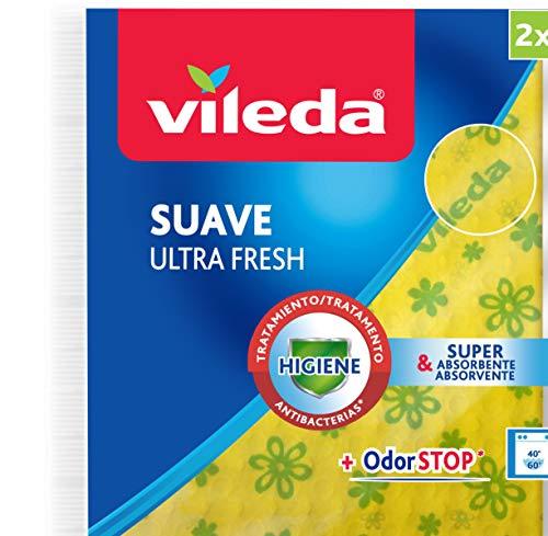 Vileda – Set de 2 bayetas Suave UltraFresh con tratamiento antibacterias, 34 x 34 cm, 2 unidades