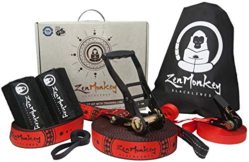 ZenMonkey Slackline Kit with Overhead Training Line, Arm Trainer, Tree Protectors, Cloth Carry Bag and Instructions, 60 Foot - Easy Setup for the Family, Kids and Adults