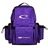 Latitude 64 Swift Disc Golf Backpack   Frisbee Disc Golf Bag with 15+ Disc Capacity   Introductory Disc Golf Backpack   Lightweight and Durable   Discs and Water Bottles not Included (Purple Graffiti)