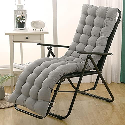 Cojín de respaldo alto para tumbona, cojín grueso para silla de jardín, patio, silla, cojín para viajes, vacaciones, jardín, interior, exterior, color gris