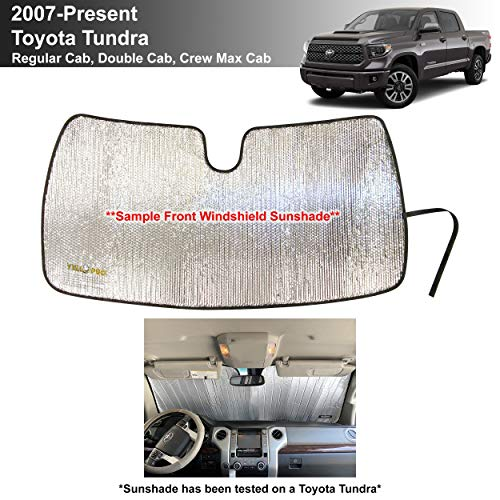 YelloPro Custom Fit Windshield Sunshade for Toyota Tundra -2007 2008 2009 2010 2011 2012 2013 2014 2015 2016 2017 2018 2019 2020 2021 - Limited SR5 Platinum TRD Pro Pickup, Sun Shade, Made in USA