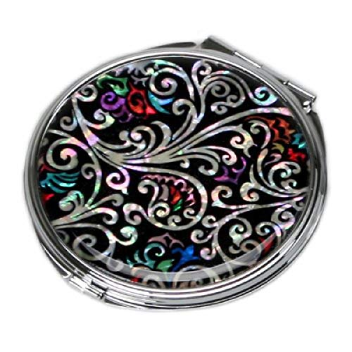 Mother of Pearl Art Deco Black Round Double Compact Purse Makeup Cosmetic Pocket Hand Mirror, 3.2 Ounce by Antique Alive