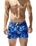AiJump Natación boxeadores Ens camuflaje Surf Pantalones cortos traje de baño de secado rápido para el verano Beach correr en una alberca para Hombre METRO Azul Azul