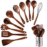 Wooden Kitchen Utensils set With Utensil Holder,NAYAHOSE 11 PCS Teak Wooden Cooking Spoons and Spatula for Cooking including Spoon Ladle Fork (11)