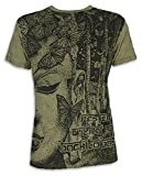 Photo de Sure T-Shirt Homme - Butterfly Wisdom Taille M L XL Méditation Yoga Hindouisme Bouddhisme Papillon (L, Olive)