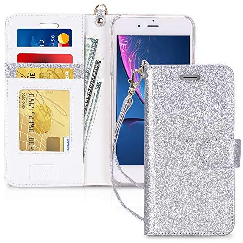 Capa de Celular FYY, Couro PU, Suporte, Compartimentos para Cartão, Compatível com Iphone 8 Plus E 7 Plus - Prata Brilhante