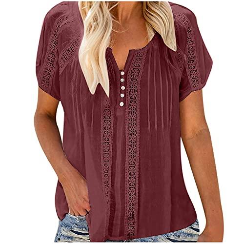 Blusas para mujer con cuello en V sólido con ojales de manga corta para ganchillo y manga corta, para mujer, tallas de 7 a 10 días