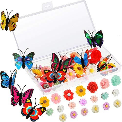80 Pieces Flower Push Pin Butterfly Push Pin Colorful Decorative Tacks Thumb Tacks for Whiteboard, Cork Board, Photo Wall, Map, Bulletin Board Decoration, Random Patterns